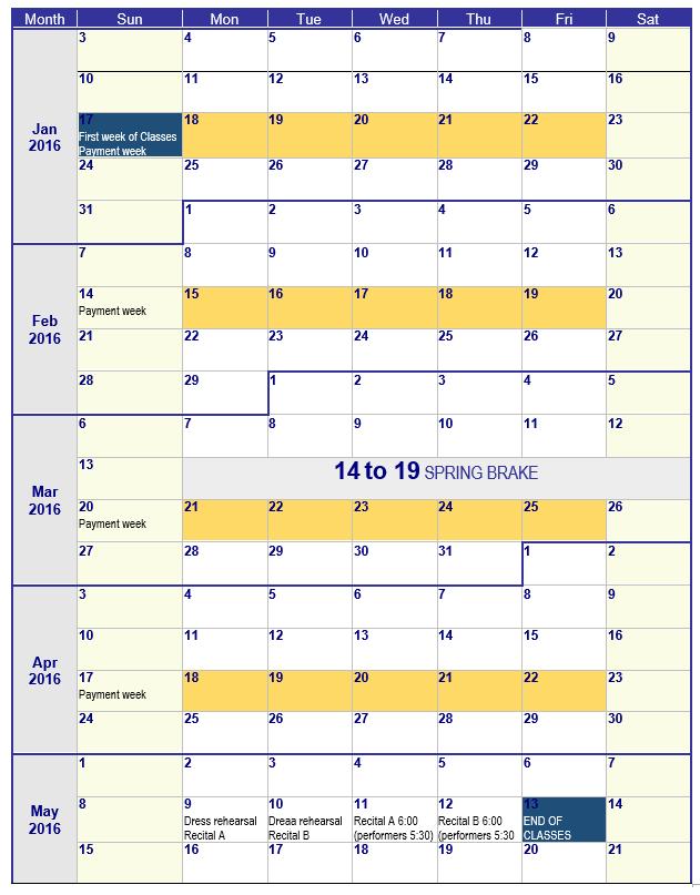 Calendar Spring 2016